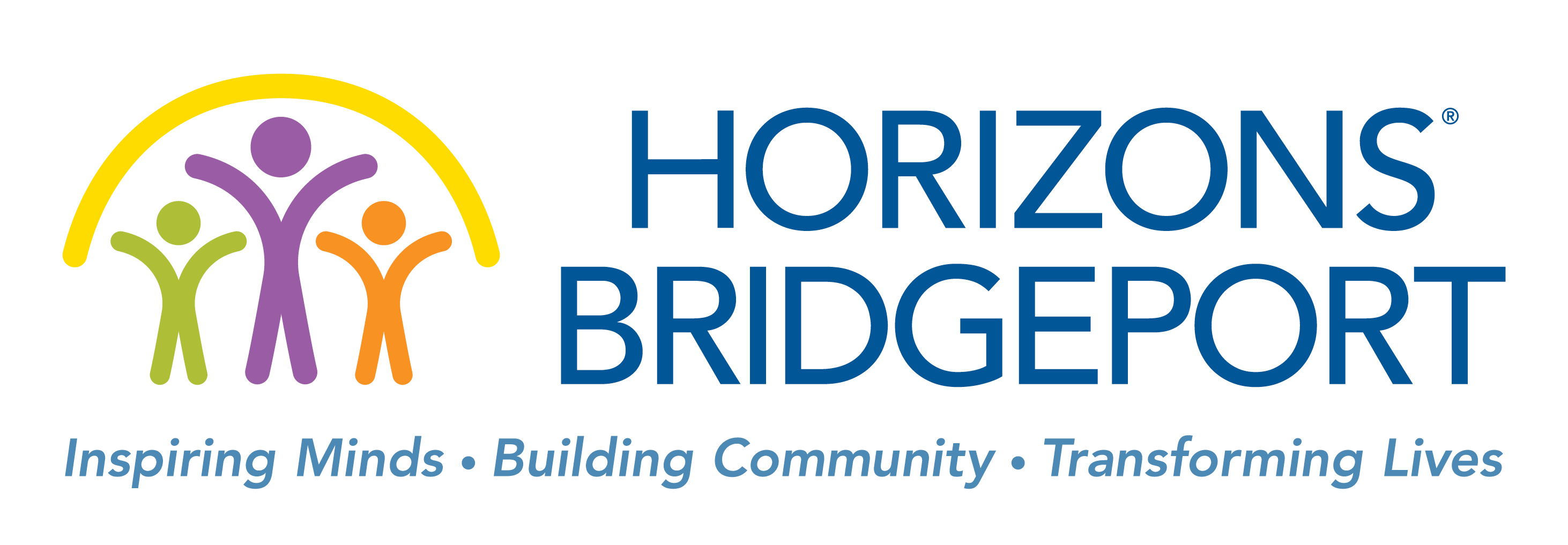 Horizons Bridgeport logo: Inspiring Minds. Building Community. Transforming Lives.